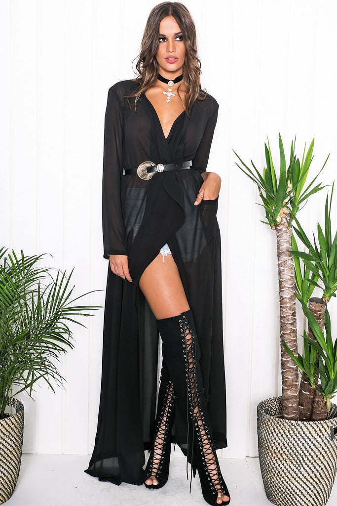 Emy Draped Sheer Cover-Up - Black