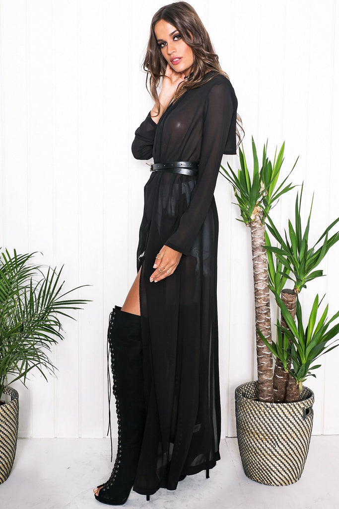 Emy Draped Sheer Cover-Up - Black - Haute & Rebellious