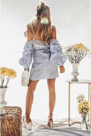 Off-Shoulder Striped Dress with Statement Sleeve