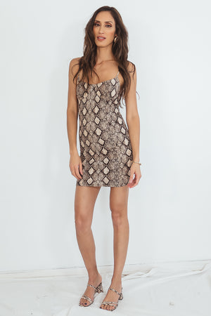 Snake-print Bodycon Mini Dress