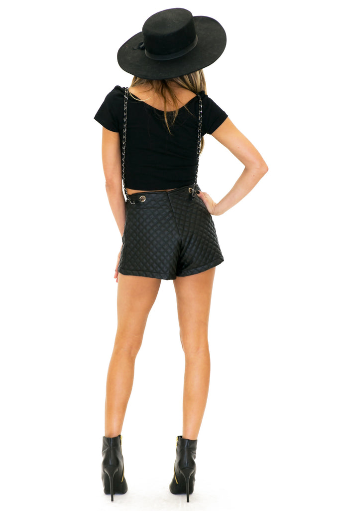 QUIN QUILTED LEATHER OVERALL SHORTS