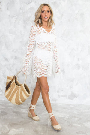 Bell Sleeve Lace Cover-Up Tunic - Haute & Rebellious