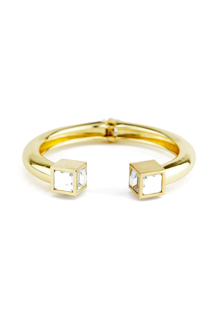 SQUARE STONED GOLD CUFF BRACELT