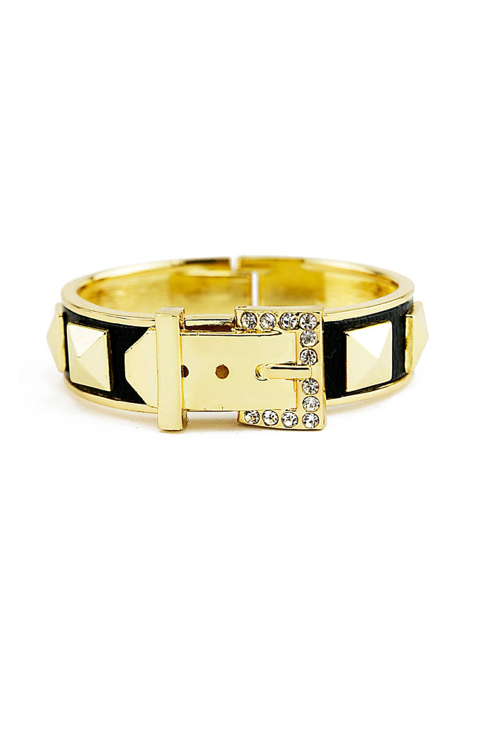 KORSON BUCKLE STUD BRACELET - Black/Gold