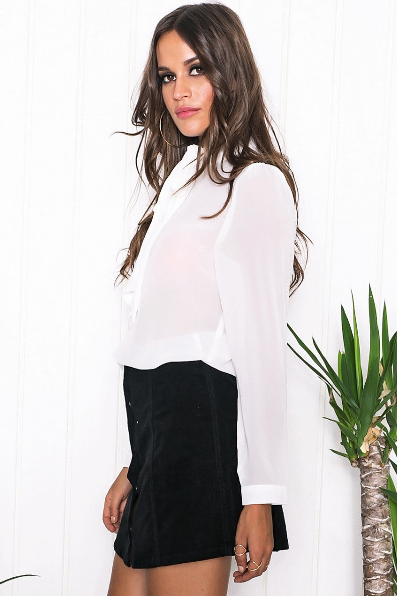 Verona Chiffon Top - White - Haute & Rebellious