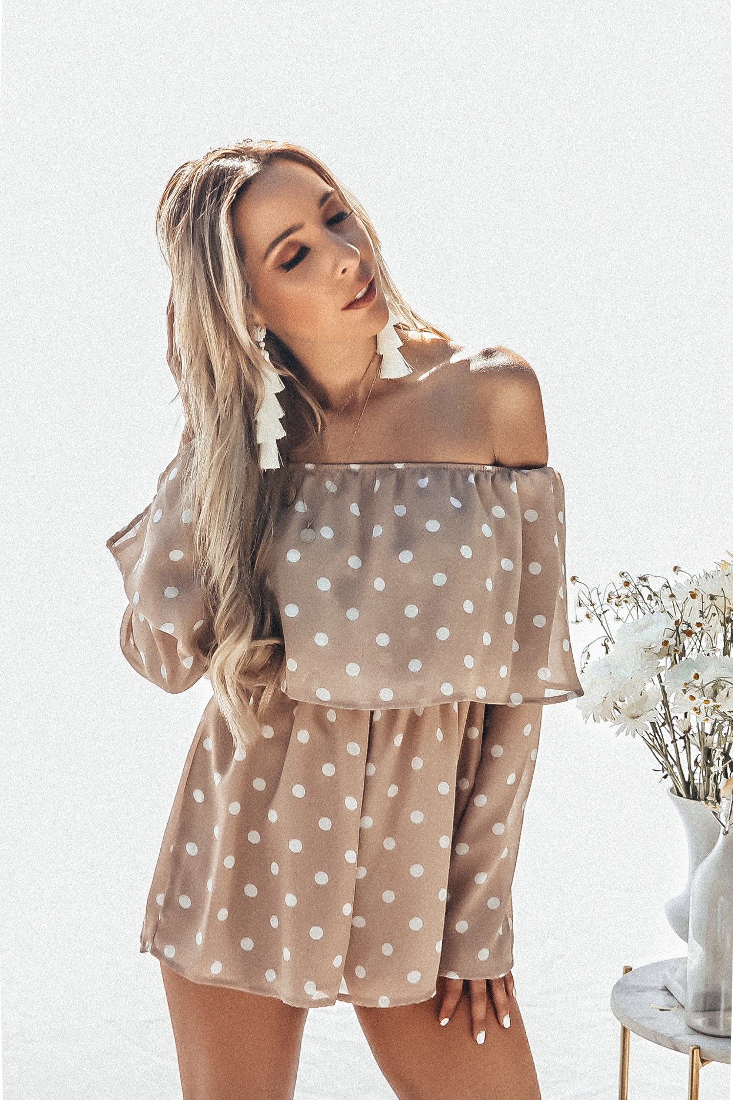 Off-Shoulder Polka Dot Tiered Romper- Taupe