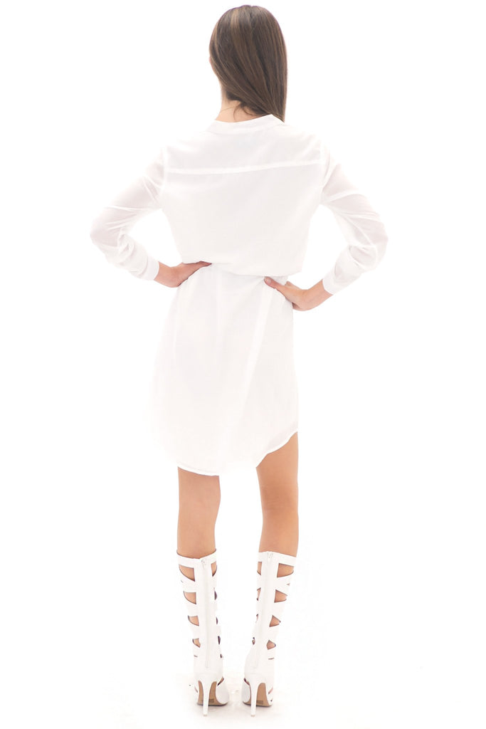 LAURIN CHIFFON SHIRT DRESS - WHITE