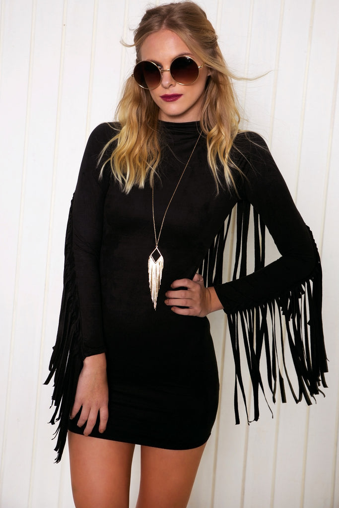 Akela Suede Fringe Dress - Black