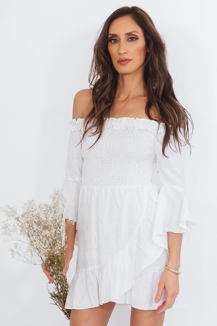 Off-Shoulder Linen Dress with Tie