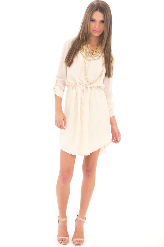 LAURIN CHIFFON DRESS SHIRT - BEIGE