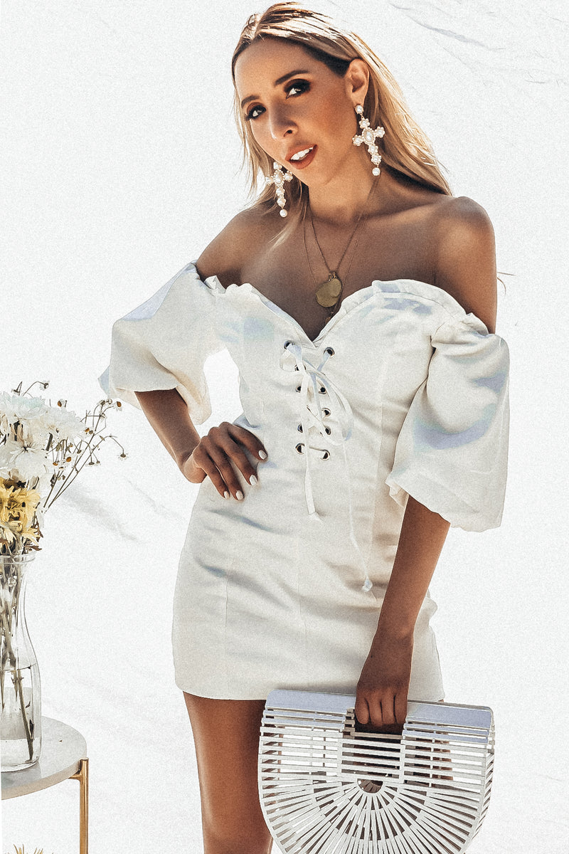 Off- Shoulder Dress with Lace Up Detail