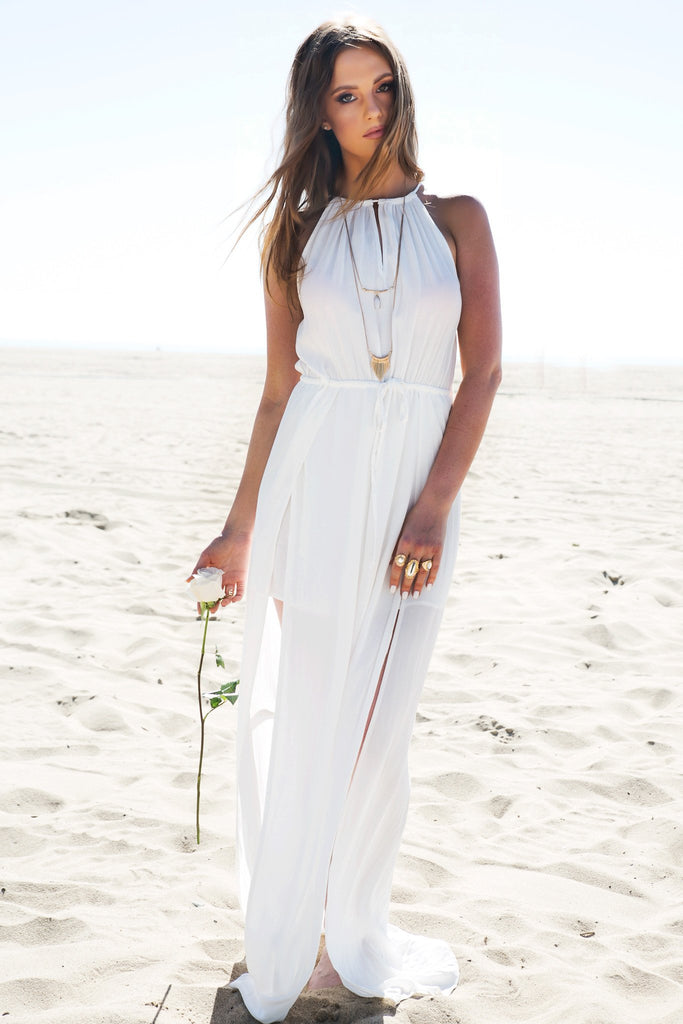 Double Slit Sleeveless Maxi Dress - Haute & Rebellious