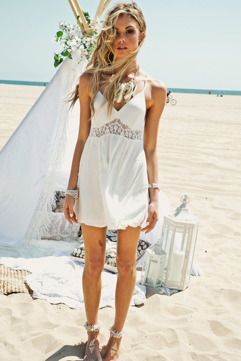 Lindy Lace Detail Dress - Ivory - Haute & Rebellious