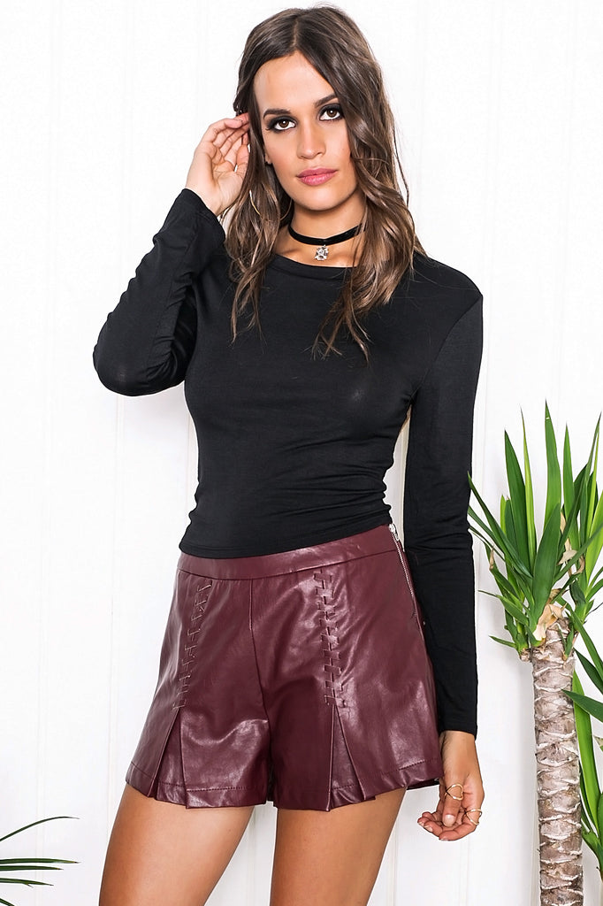 Riya Long Sleeve Crop Top - Black