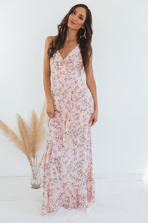 Ruffle Wrap Floral Maxi Dress