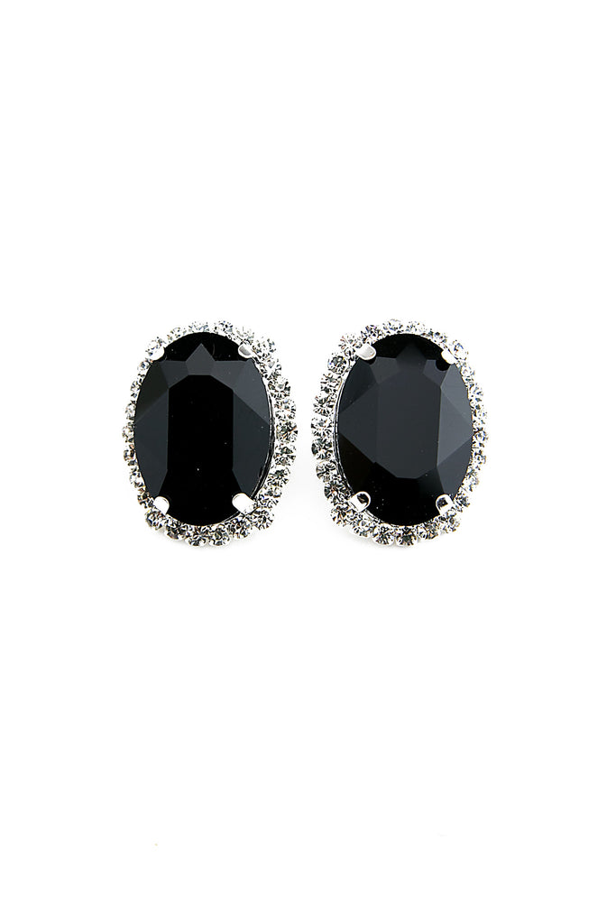 ZENYA LARGE STONE EARRINGS - Black