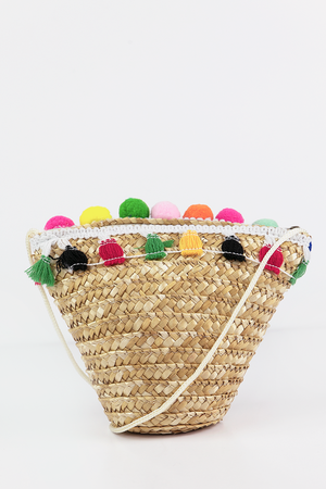 Straw Pom-Pom Small Bag - Haute & Rebellious