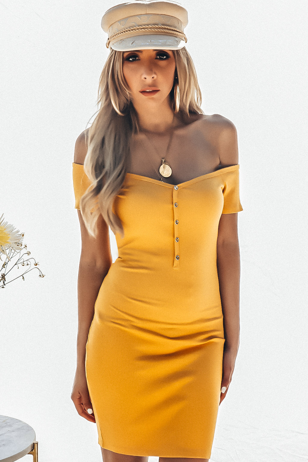 Off-Shoulder Ribbed Mini Dress with Buttons - Mustard