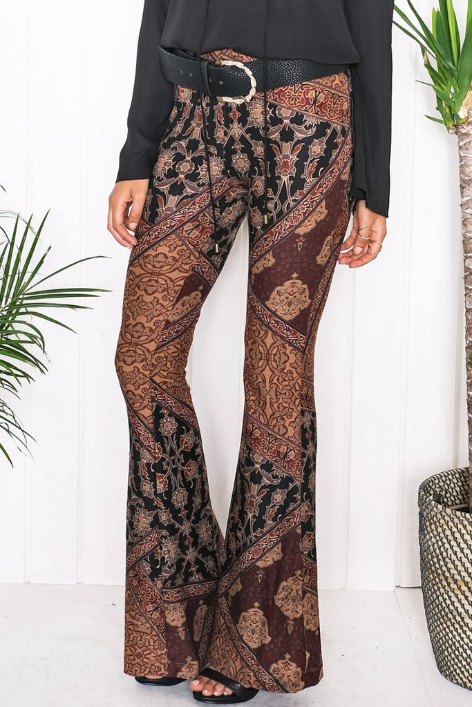 Carly Flower Print Bell Bottom Pants