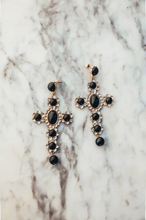 Cross Pearl Earrings - Black
