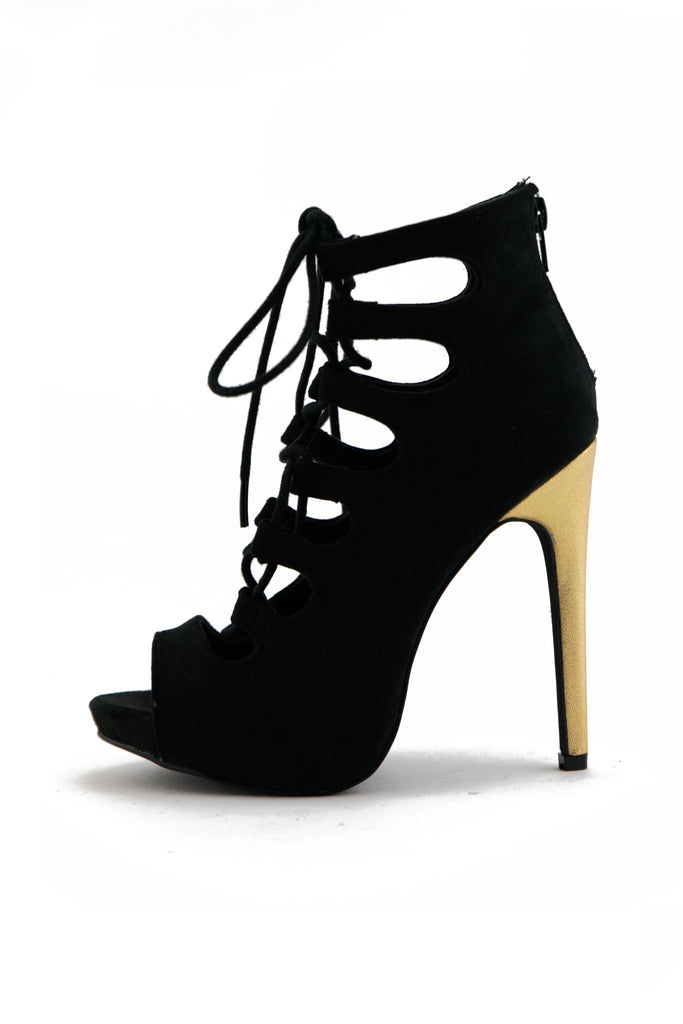 VICTOR CUTOUT LACE-UP BOOTIE HEEL