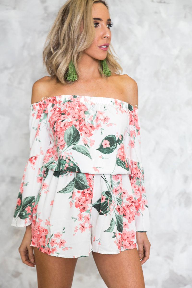 Floral Off-Shoulder Long Sleeve Romper /// Only 1-S Left /// - Haute & Rebellious