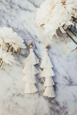 Tassel Layered Earring - Ivory