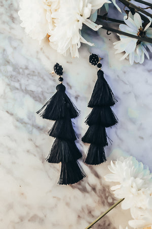 Tassel Layered Earring -  Black
