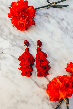 Tassel Layered Earring -  Red