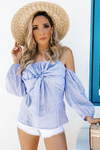 I Got You  Striped Bow-Tie Off-Shoulder Top - Haute & Rebellious