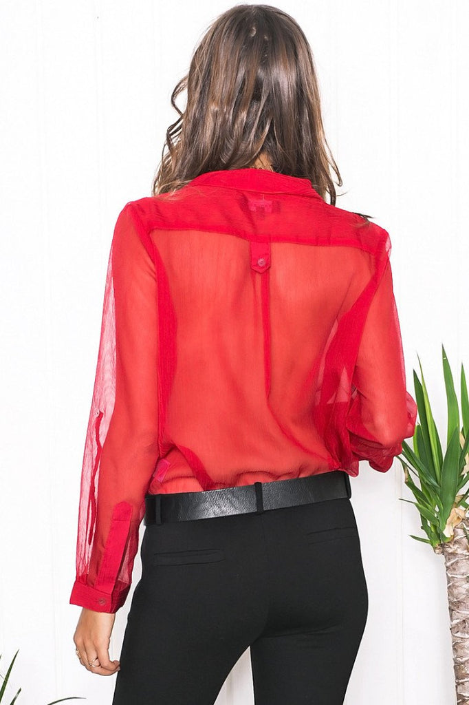 Mollin Sheer Blouse - Red