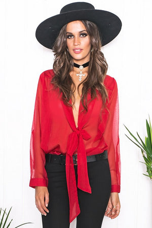 Mollin Sheer Blouse - Red - Haute & Rebellious