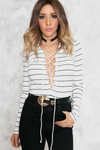 Lace-Up Striped Bodysuit - White /// ONLY 1-M LEFT/// - Haute & Rebellious