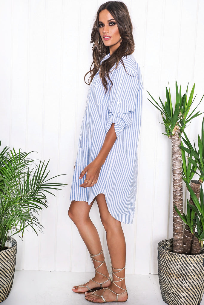 Sania Striped Shirt Dress