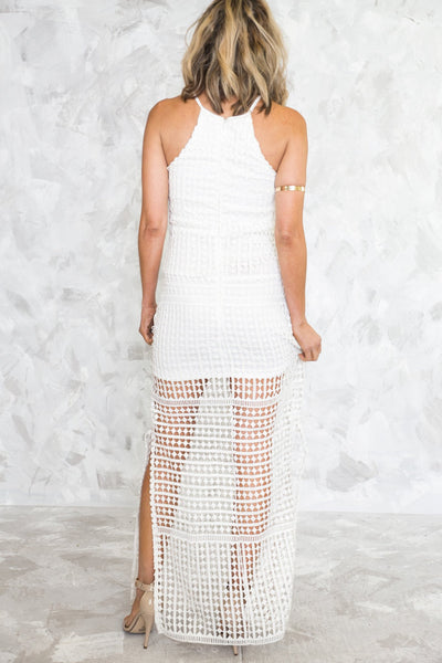 Crochet Maxi Dress - White - Haute & Rebellious