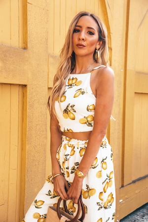 Lemon Print Top & Pant Set