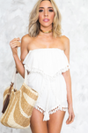 Pom-Pom Ruffle Off-Shoulder Romper /// ONLY 1-L LEFT/// - Haute & Rebellious