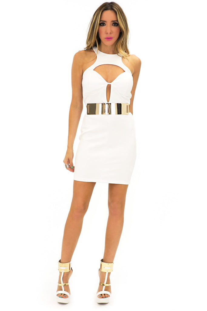 SCUBA SLEEVELESS BODYCON DRESS - White