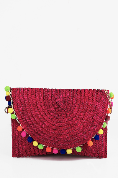 Pom-Pom Straw Envelope Clutch - Red