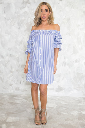 Off-Shoulder Striped Shirt Dress /// Only 1-L Left /// - Haute & Rebellious