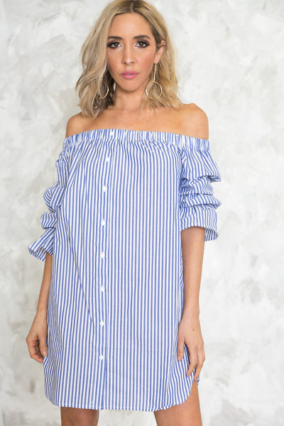 Off-Shoulder Striped Shirt Dress /// Only 1-L Left ///