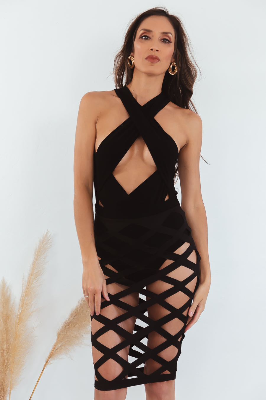 Strappy Cutout Sexy Dress - Black