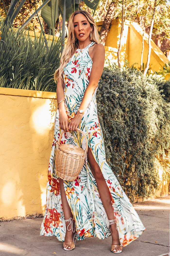 Tropical Open Back Floral Maxi Dress