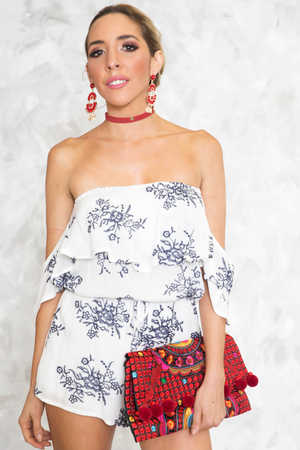 Off-Shoulder Ruffle Embroidery Romper - Haute & Rebellious