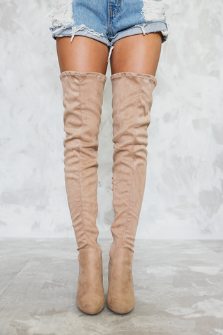 Open Toe Thigh High Boots - Black