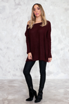 Basic Knit Sweater - Maroon