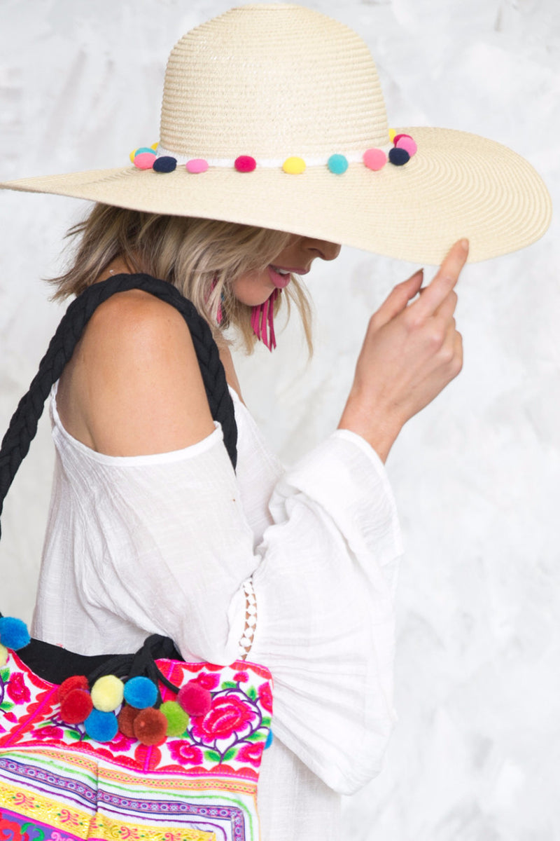 Pom-Pom Floppy Brim Straw Hat - Cream - Haute & Rebellious