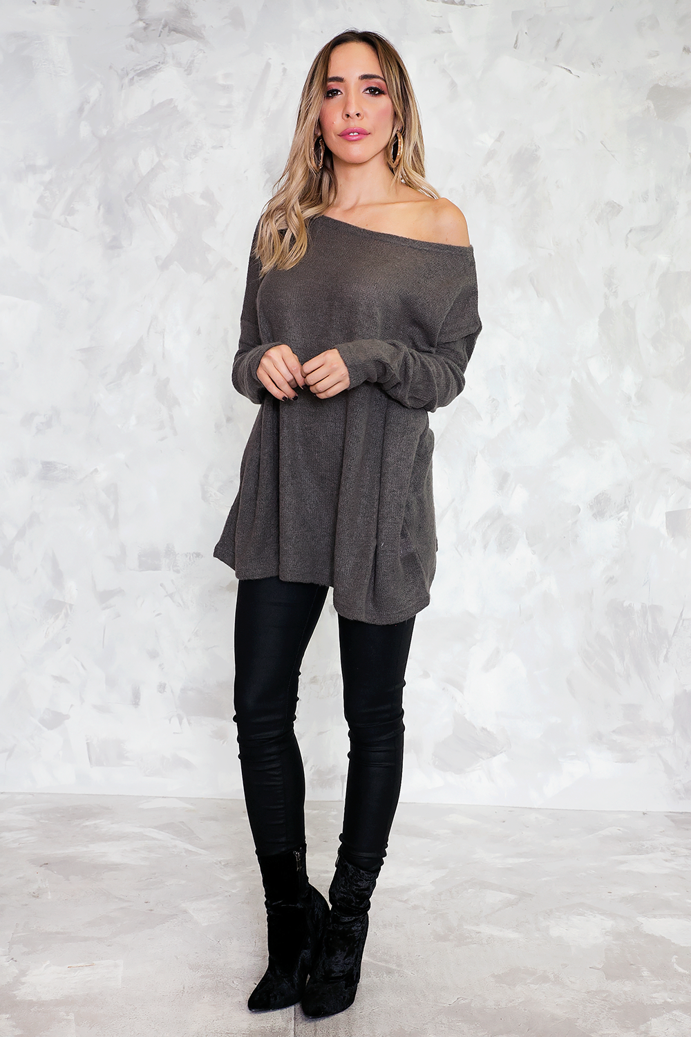Basic Knit Sweater - Dark Grey