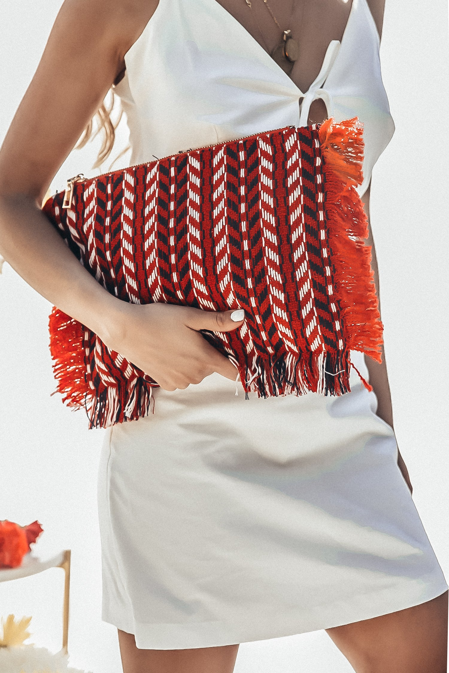 Way Out Woven Fringe Bag