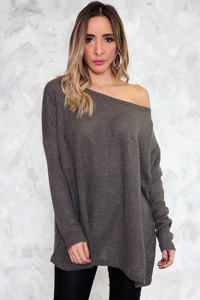 Basic Knit Sweater - Dark Grey /// Only 1-L Left ///